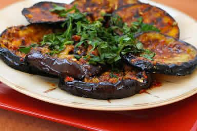 Spicy Grilled Eggplant Recipe with Red Pepper, Parsley, and Mint, from Kalyn's Kitchen