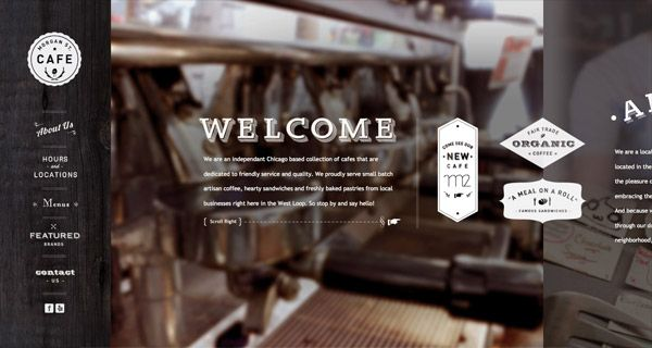 Showcase Of Trendy Hipster Style Website Designs Cafe Website Design Cafe Website Website Design Inspiration