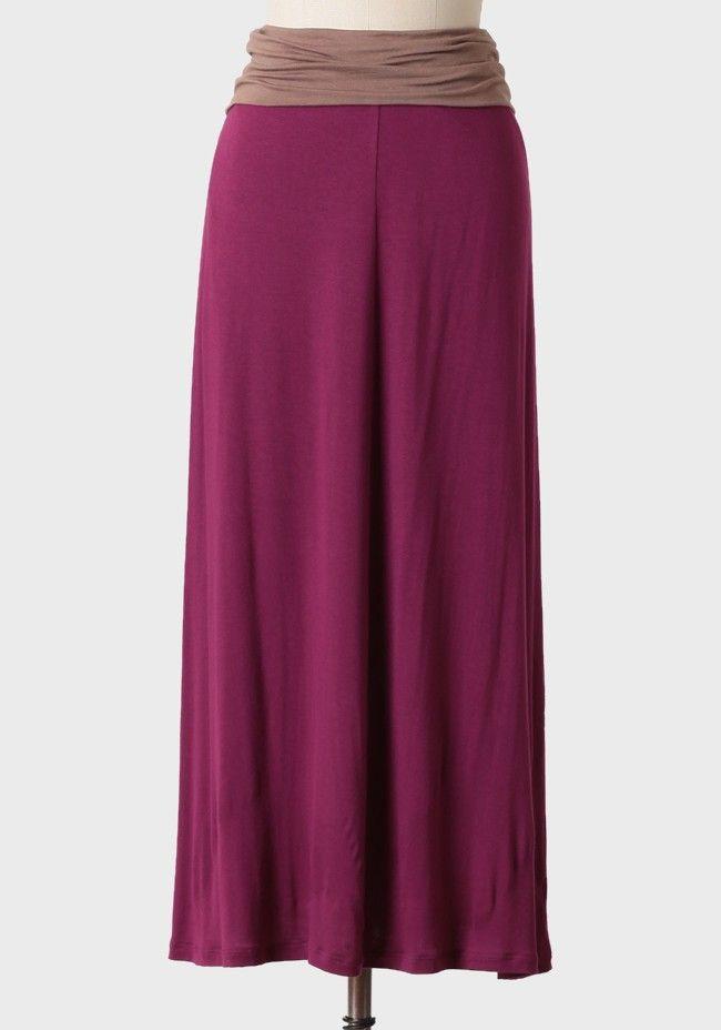 Raspberry Latte Jersey Skirt | Modern Vintage Jewel Tones | Modern Vintage Features