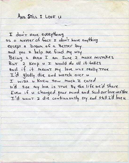 And Still I Love U – Tupac's Handwritten Poem