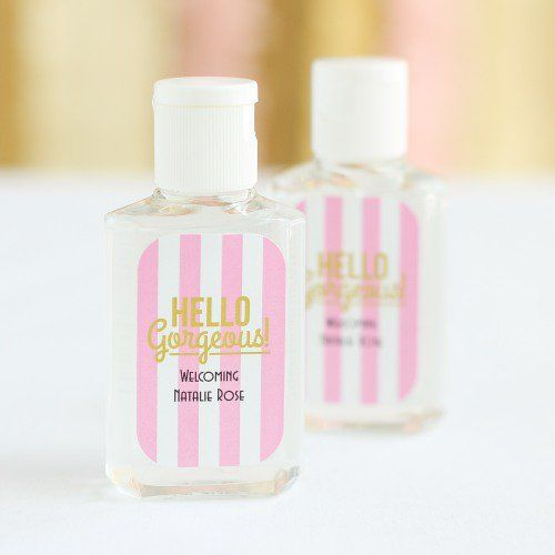 Personalized Baby Shower Hand Sanitizer In 2019 Pink Baby Shower