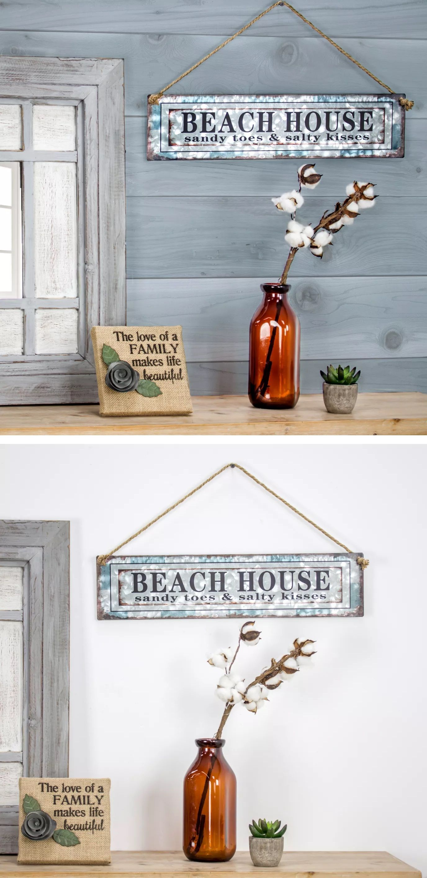 Beach House Galvanized Metal With Rope Hanger Wall Decor E2 Concepts Affiliate Pin With Images Beach Wall Decor Beach Theme Decor Galvanized Decor