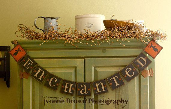 Primitive Folk Art Halloween ENCHANTED Banner by thecracklingcrows