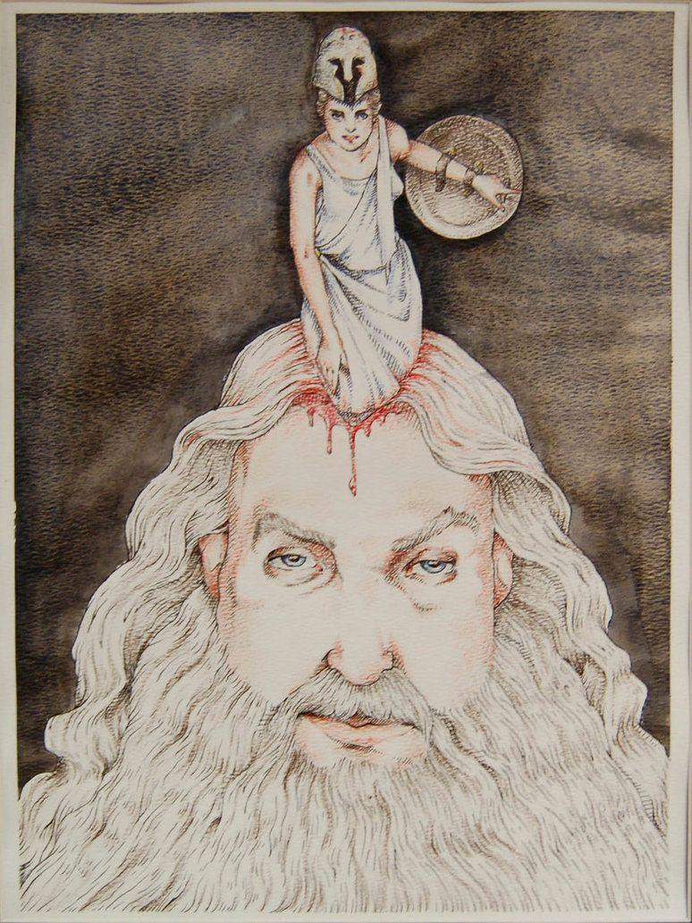 Atenea naciendo guerrera de la cabeza de Zeus ~ sprang from her ...