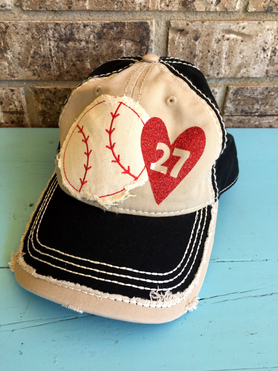1cfd8cba21d Super fun Baseball themed baseball cap!   ANY number can be done    Distressed all over   Leave a note at checkout with colors you would like  for the name ...