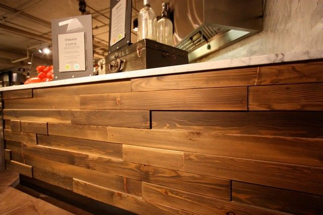 Wood finish for counter ccm restaurant pinterest wall cladding cladding and flooring for Wooden cladding for exterior walls