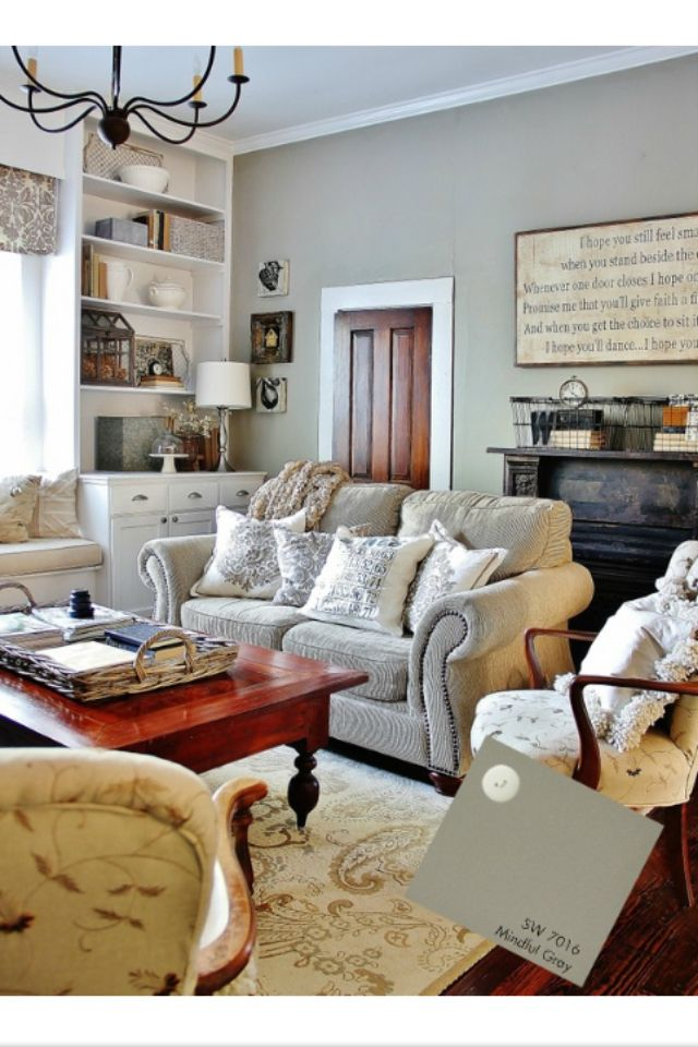 SW Mindful Gray - LOVING THE painted trim and wood doors!!! Hmmmm