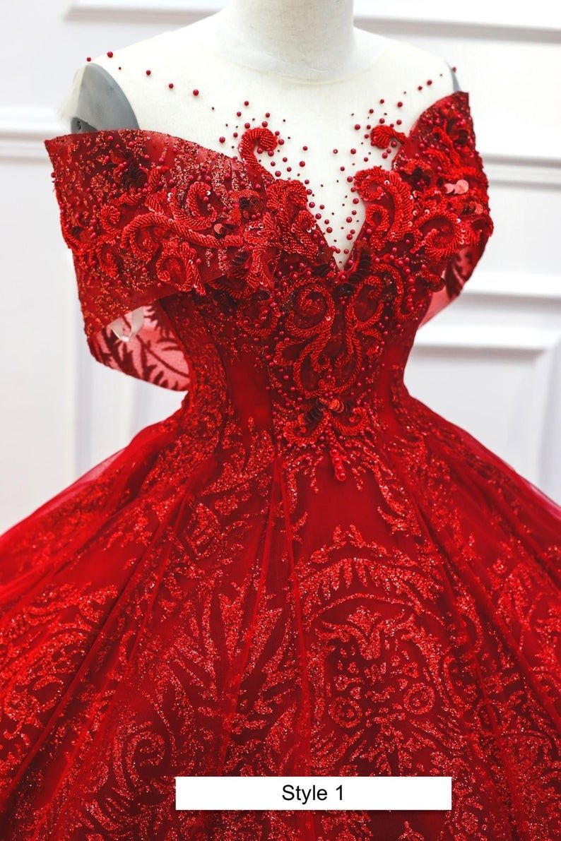 Passion Red Queen Style Sleeves Red Sparkle Ball Gown Etsy Ball Gowns Gowns Quince Dresses [ 1191 x 794 Pixel ]