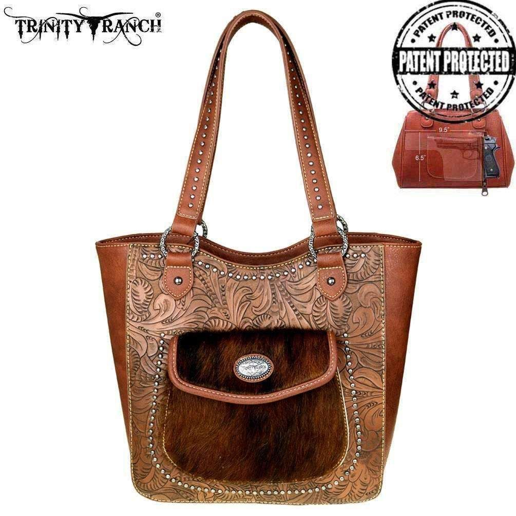 Tr40g 8005 Trinity Ranch Tooled Design Concealed Carry Tote Brown
