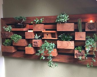 Modern Wall Planter Vertical Succulent Picture Frame Garden Wall Hanging Planter Living Wall Planter Wood Indoor Outdoor Wall Herb Succulent Garden Indoor Vertical Succulent Gardens Living Wall Planter