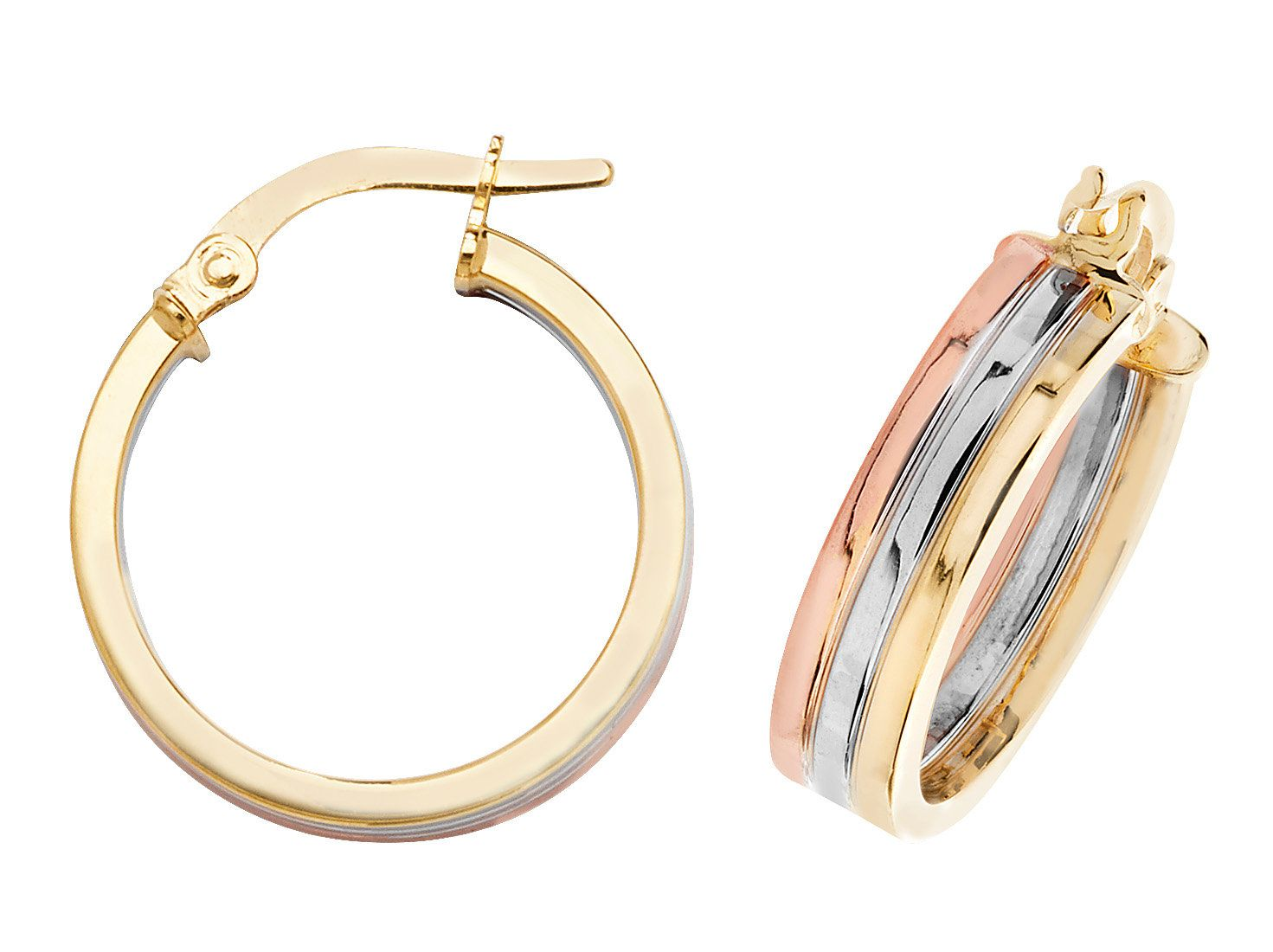 d766d581a 9ct Tri Colour Yellow Rose & White Gold Flat Hoop Earrings 15mm 20mm ...