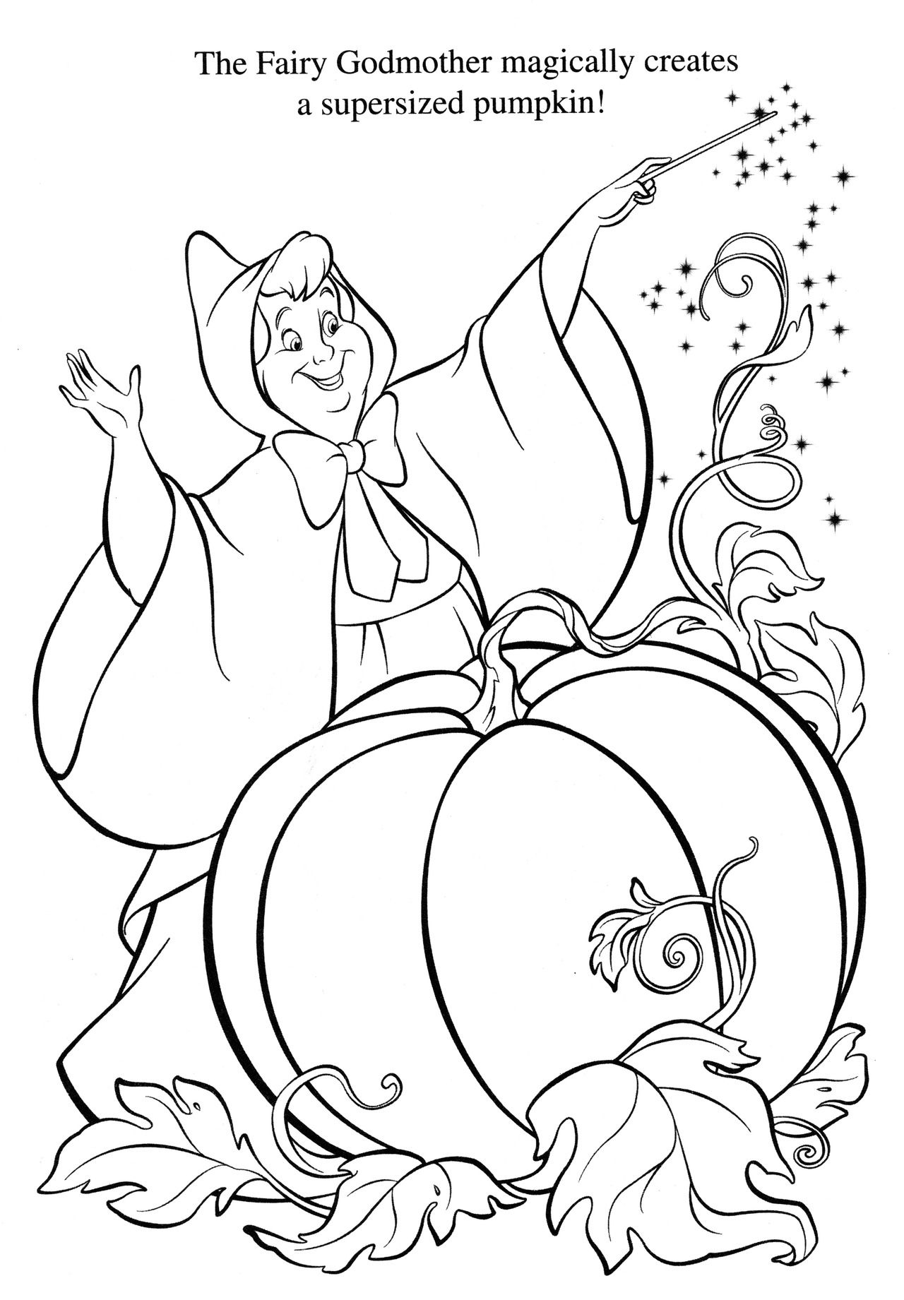 Coloring pictures cinderella - Cinderella Fairy Godmother Coloring Page Kids Coloring Page