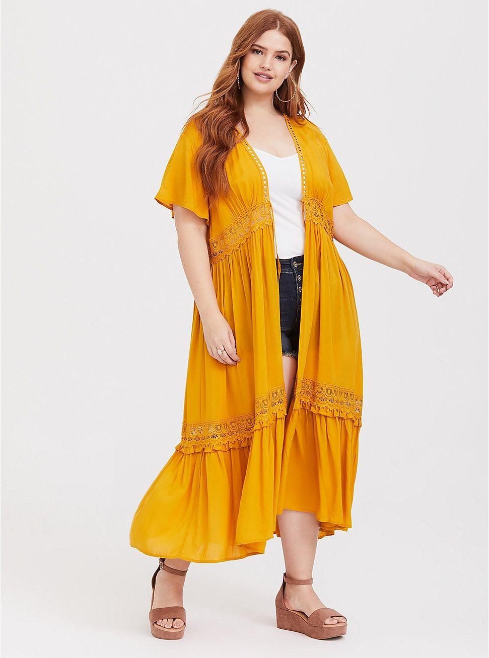 4e959c263b7983 Yellow Crochet Kimono in 2019 | My Style | Dress for petite women ...