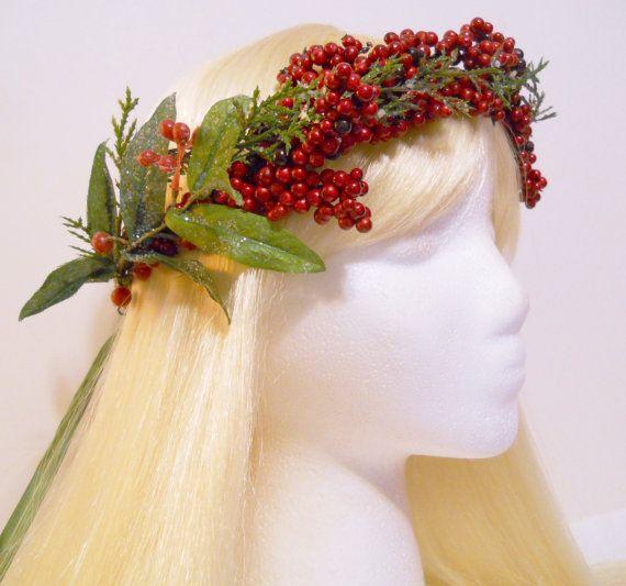 Flower Crown Head Wreath Christmas Holiday Weddings Winter Girl Santa Hair Accessories Red Green Berries Mistletoe Party