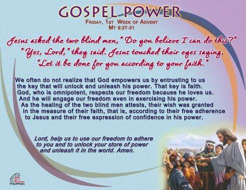 Gospel Power – Friday 1st Week of Advent