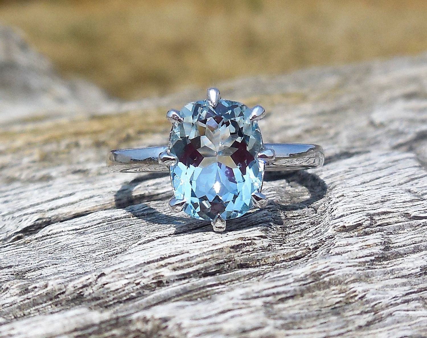Ct aquamarine unique engagement ring k white gold ooak custom