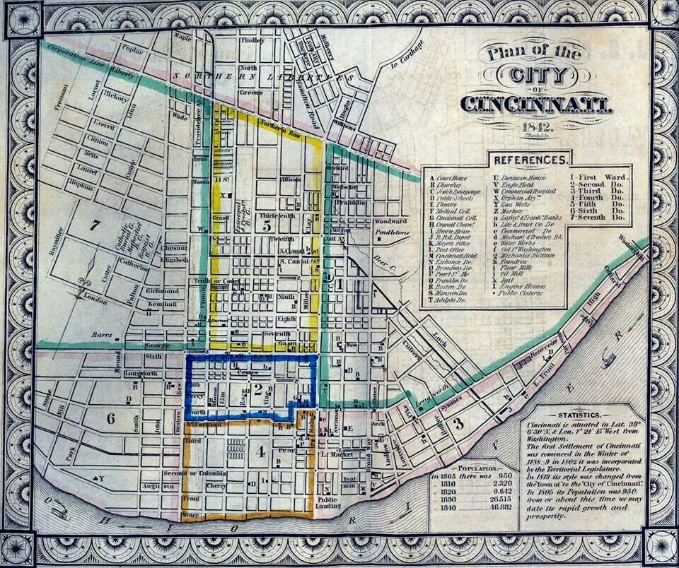 GIANT Historic 1838 City of Cincinnati OHIO Street WALL Map BY JOSEPH GEST PRINT