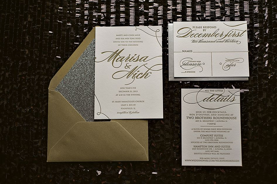 silver and gold glitter wedding invitations new years eve wedding letterpress