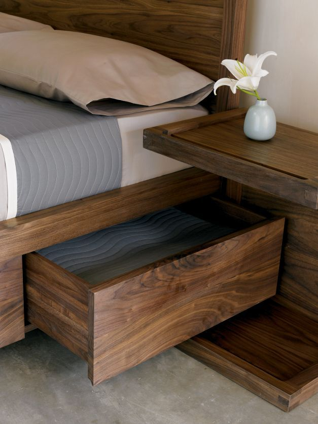 Bed with storage & night stand. Love this bed. Maybe a slightly lighter wood stain ...