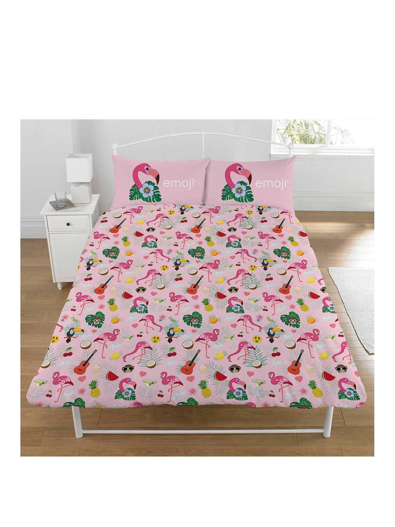 Emoji Flamingo Double Duvet Cover Set