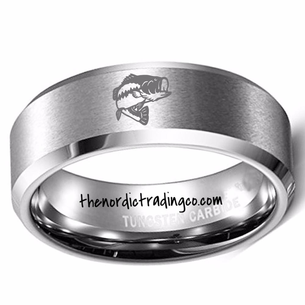 Men S Fisherman Wedding Ring Band Silver Gold Tungsten Husband Loves Fishing Largemouth Bass Fish Fishermens Rings Mens Guys Jewelry Gifts Him Anniversary Chr Tungsten Mens Rings Mens Wedding Bands Tungsten