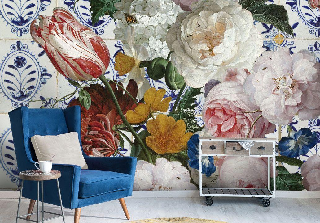 Hip Behang Woonkamer : Bloemen behang sien grote bloemen en oud hollandse tegels