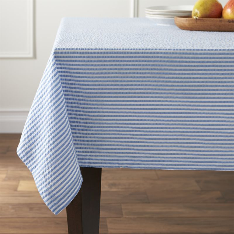 Nice For Our Patio Table 60 X 90 39 95 Seerer Blue Tablecloth Crate And Barrel