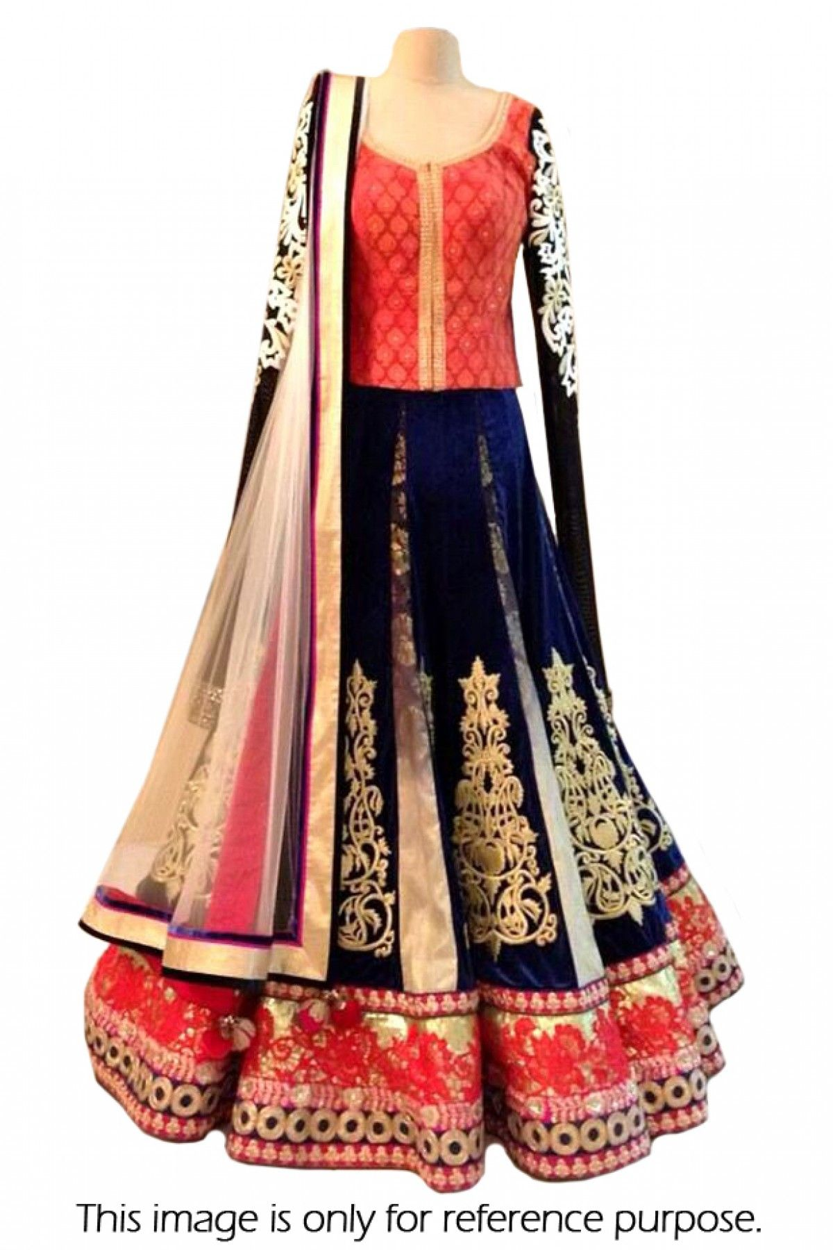 Bollywood Style Model Velvet Suit In Red and Blue Colour NC1704