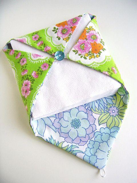 fabric napkin holder, via Flickr. | Napkin | Pinterest | Sewing ...