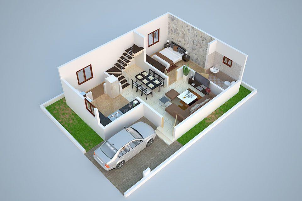 3D Ground Floor Plan Design of Duplex (1280 Sq. Ft ...