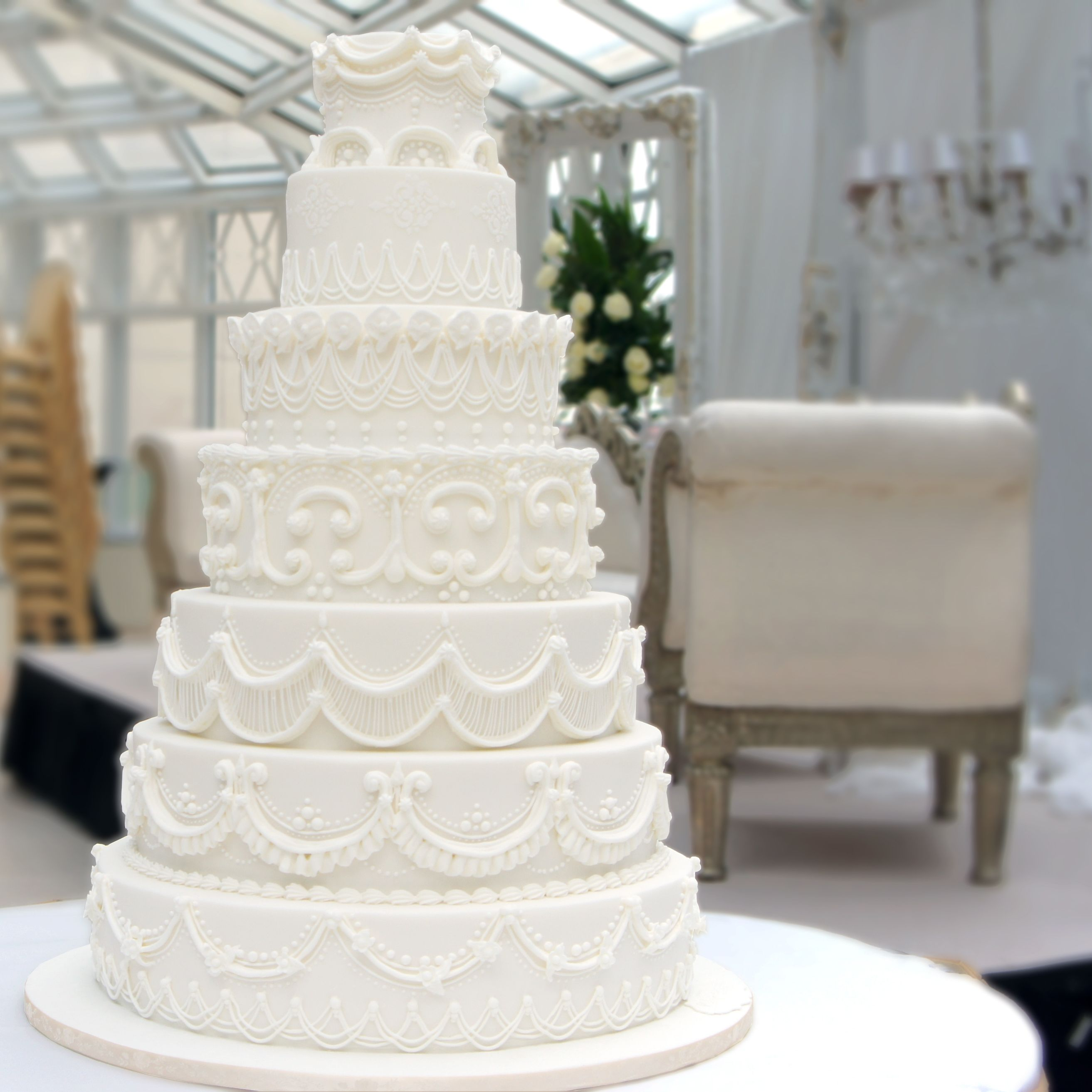 Piped Royal Icing Cake made for an Indian Wedding A stacked seven ...