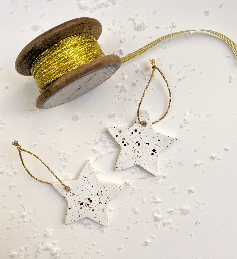 White Star Clay Christmas Ornament Etsy Gold Christmas Ornaments Handmade Decorations Christmas Tree Ornaments