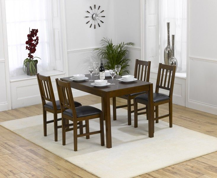 Oxford 120cm Dark Solid Oak Dining Table With Oxford Chairs.
