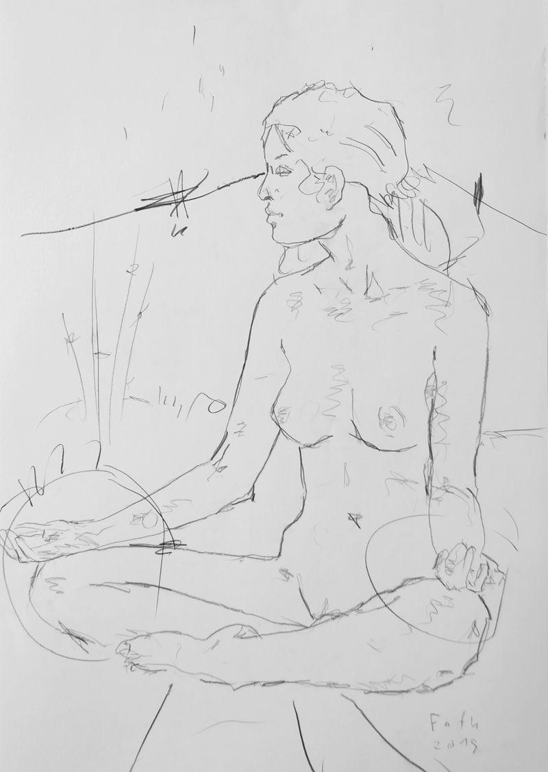 Zoé im Schneidersitz, den Yogasitz nachstellend / Kohle auf Papier / 100 x 70 cm / 2015 /  Detlev Foth