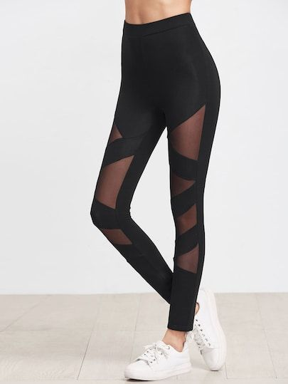 Mesh Insert Striped Leggings #stripedleggings