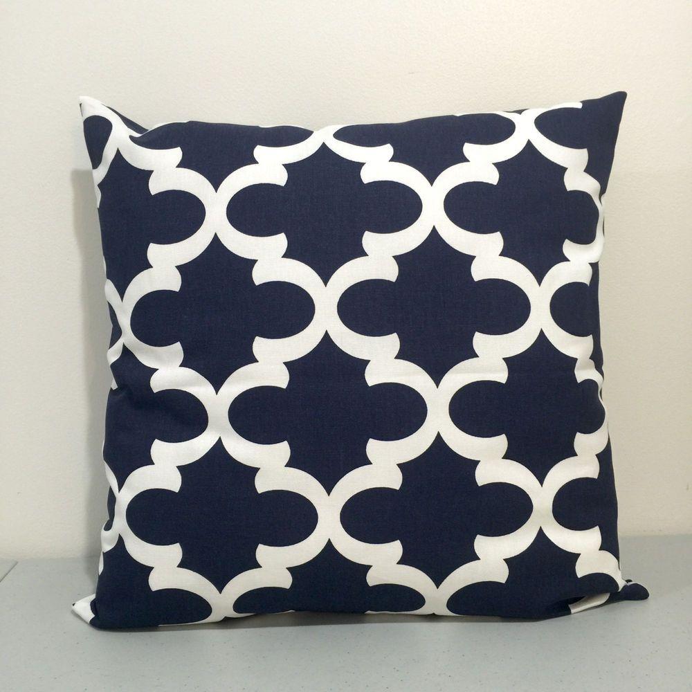 Navy blue white fynn throw pillow cover pillowcase kidney