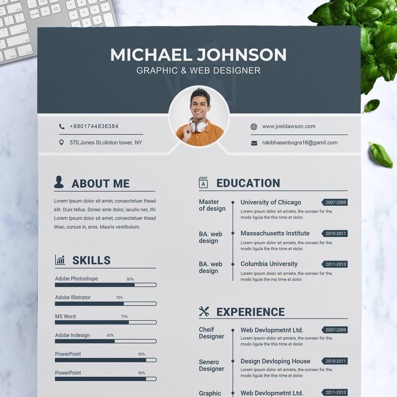 Modern Resume Template Cv Template Cover Letter Etsy Cv Kreatif Desain Cv Desain Resume