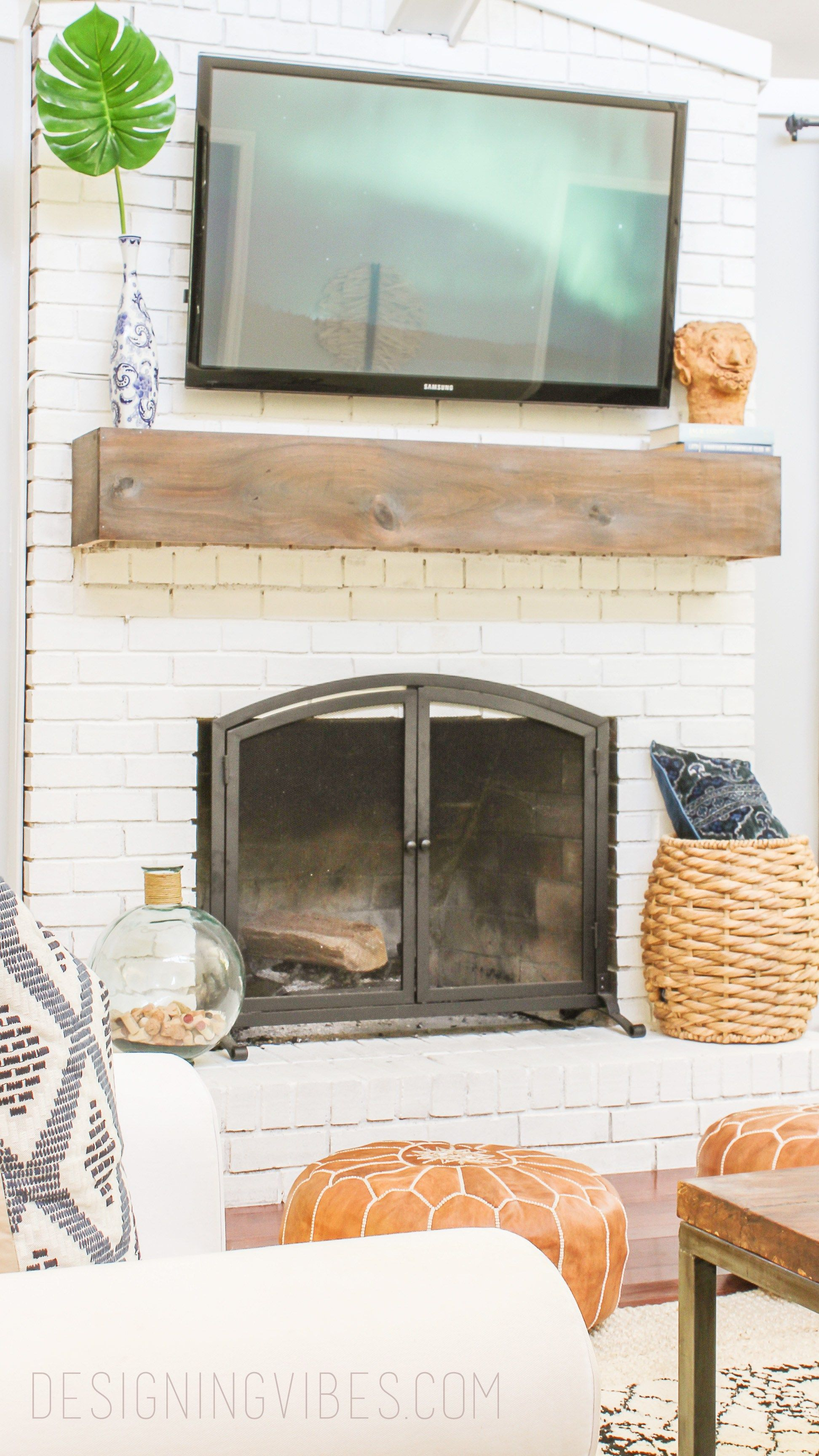 How to Makeover Your Fireplace on the Cheap and Easy Poufs