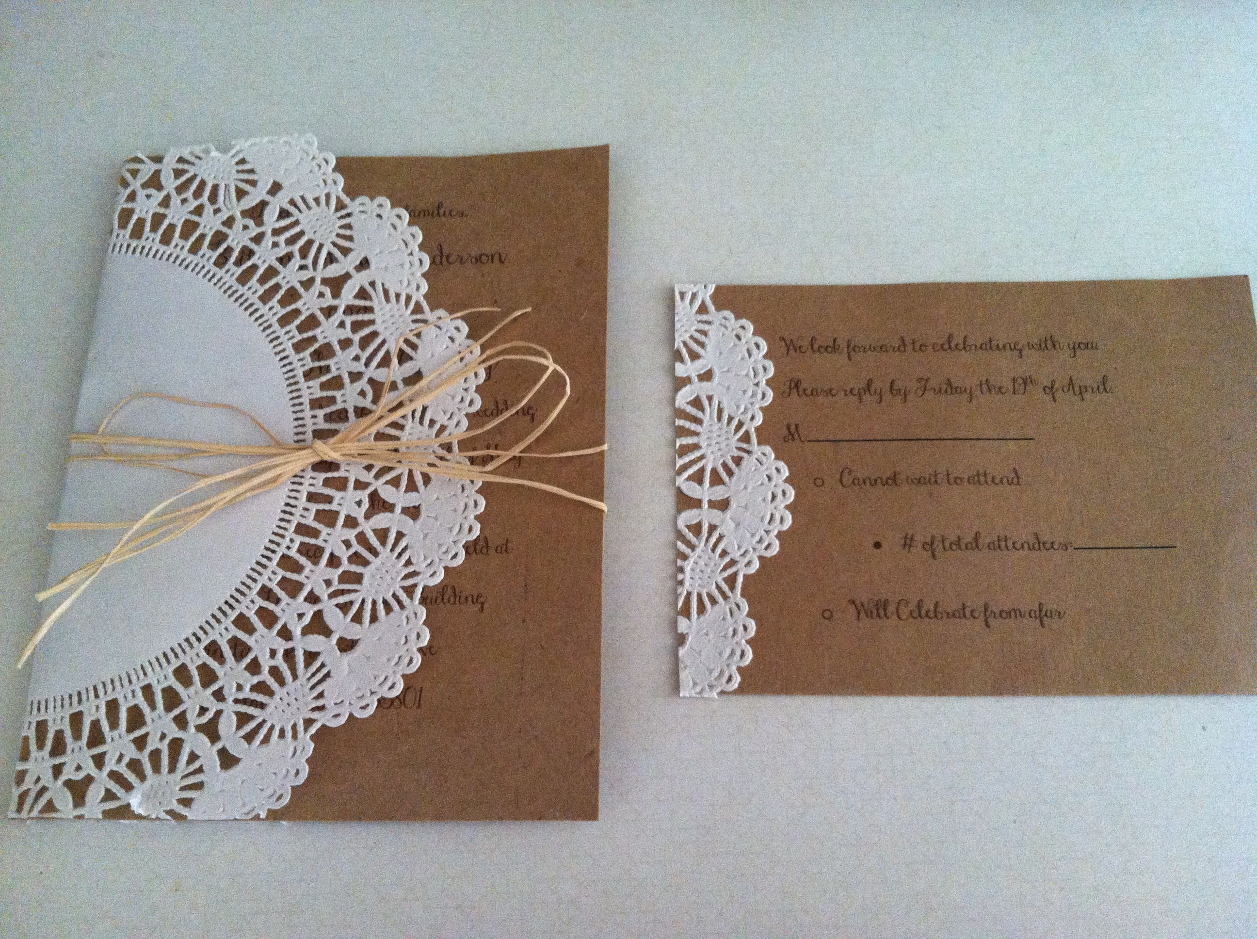 DIY wedding invites: 5x7 card stock for invite, 4x6 card stock for ...