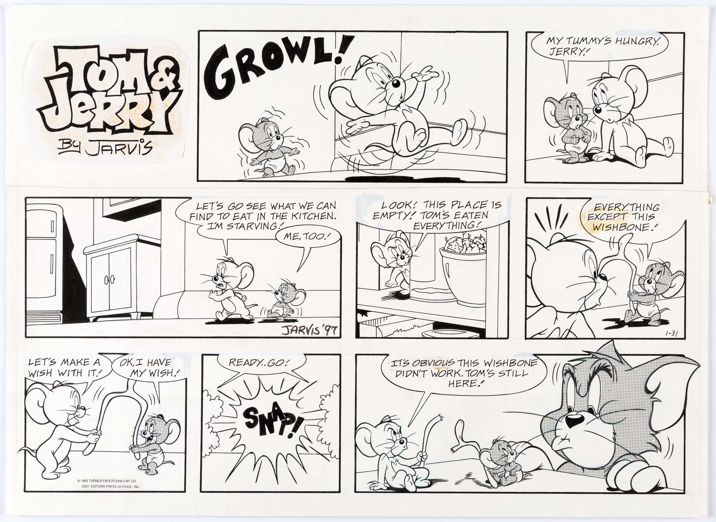 Kelly Jarvis Tom And Jerry Sunday Comic Strip Original Art Dated Lot 13051 Heritage Auctions Comic Strips My Little Pony Drawing Tom And Jerry