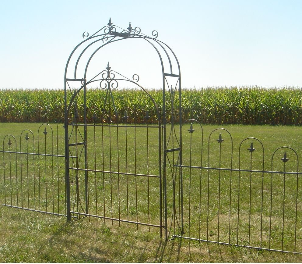 Wrought Iron Large Handmade Arbor Gate Metal Garden Fencing Arbor Gate Wrought Iron Garden Gates