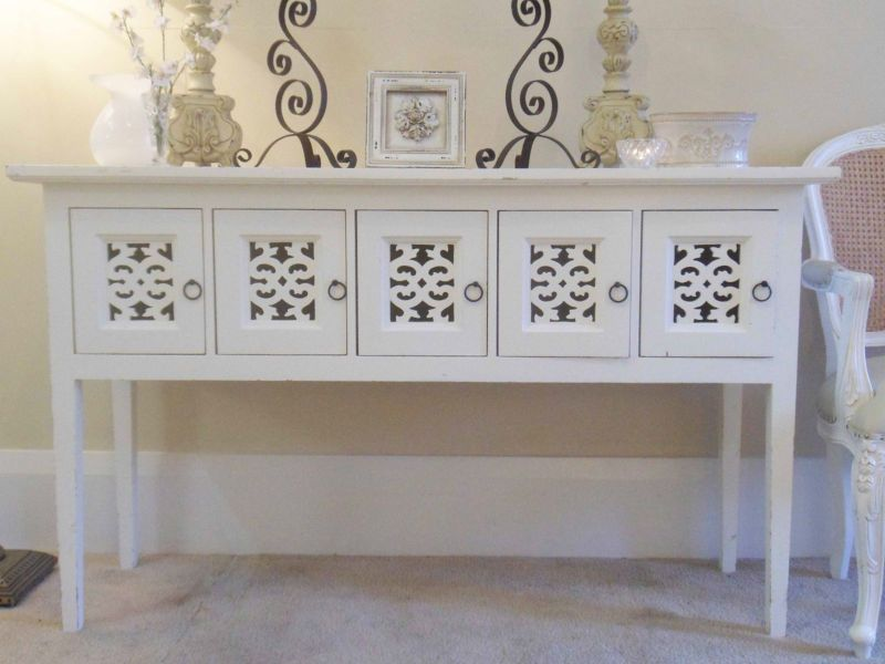 FRENCH PROVINCIAL WHITE HALL CONSOLE TABLE SIDEBOARD FIVE STORAGE