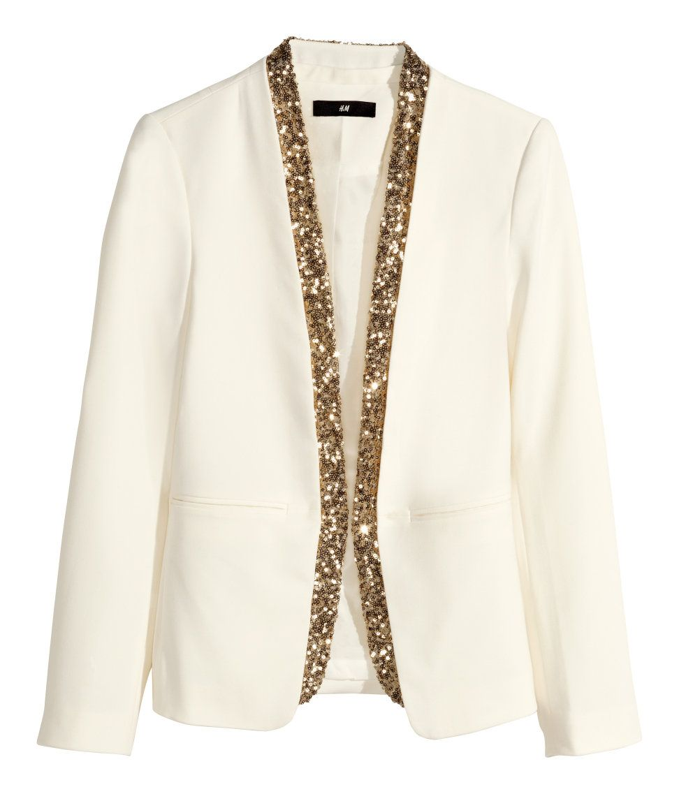 white blazer with gold sequin trim party in hm
