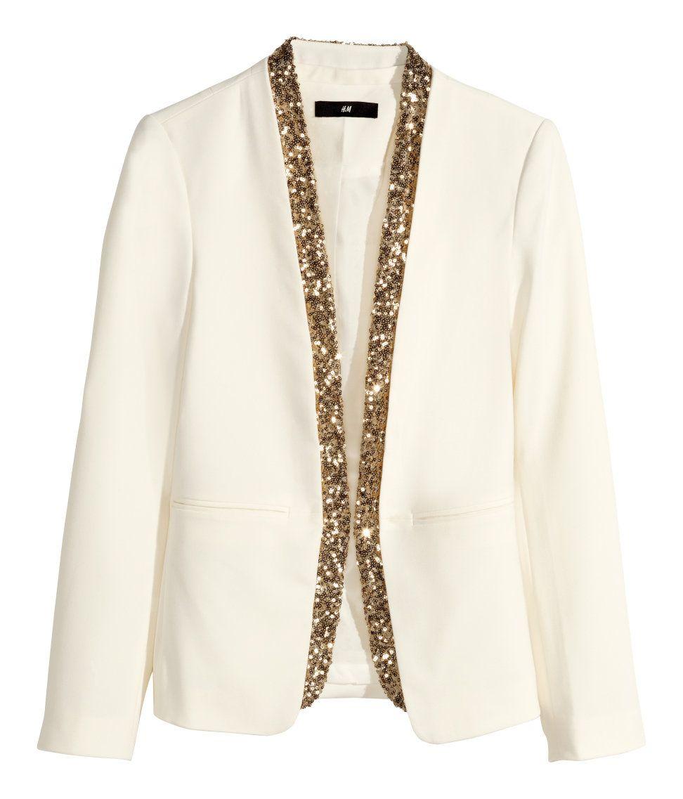 ad7a63f93e09 White blazer with gold sequin trim.