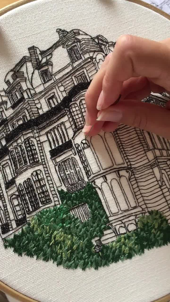 Embroidery of Rue Rembrandt, Paris. Join our free Embroidery Library