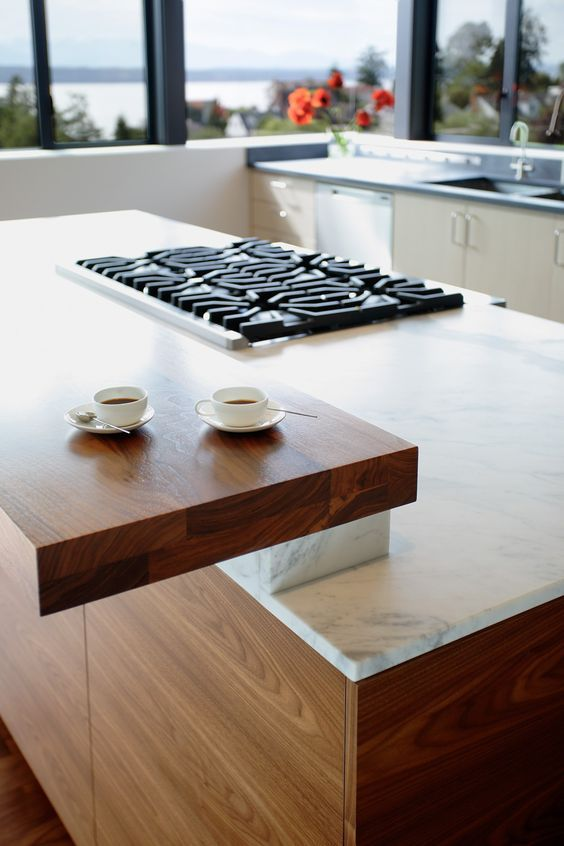 Not Quite A Waterfall Counter Edge Detail But This Shows An Interesting Take On Hi Kitchen Table Small Space Folding Kitchen Table Kitchen Island With Seating