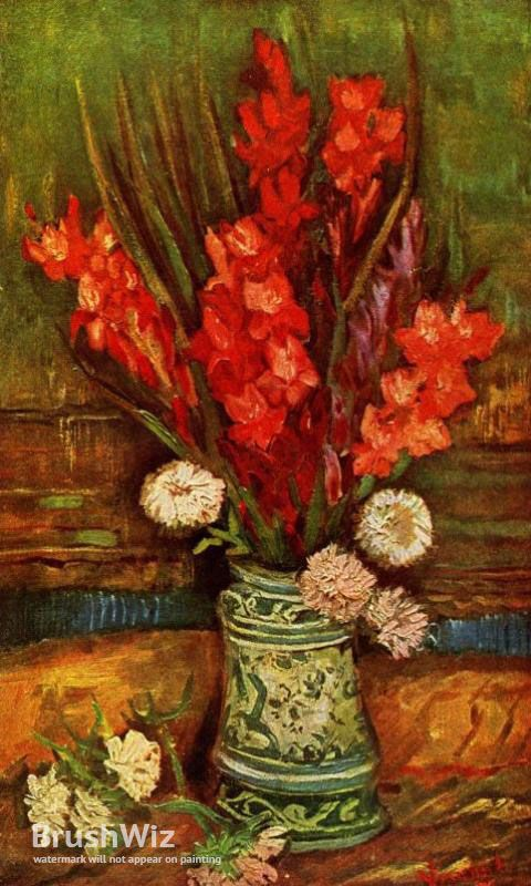Still Life Vase With Red Gladiolas by Vincent Van Gogh - Oil Painting Reproduction - BrushWiz.com