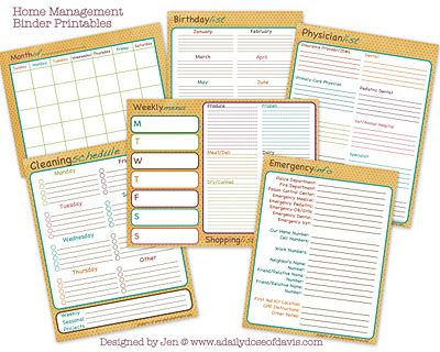home organizing printables