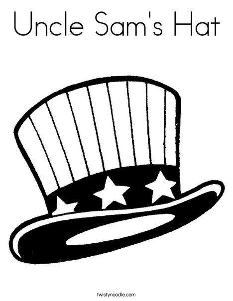 Uncle Sam S Hat Coloring Page Twisty Noodle Memorial Sam Hat Coloring Page