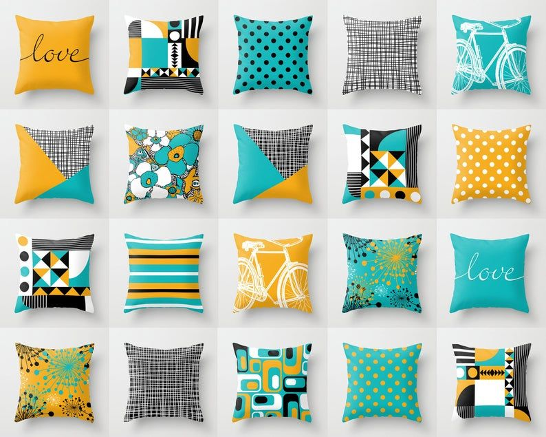 Black White Yellow And Turquoise Throw Pillow Mix And Match Indoor Outdoor Cushion Cover Accent Couch Toss Aqua Teal Blue Saffron Mustard In 2020 Turquoise Throw Pillows Grey Throw Pillows White